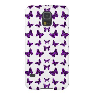 Purpurfärgat mönster för Leopardtryckfjäril Galaxy S5 Fodral