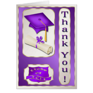Purpurfärgat och guld- studententackkort kort