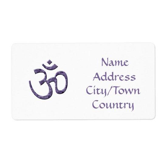 Purpurfärgat Om-symbol/adressetikett Fraktsedel