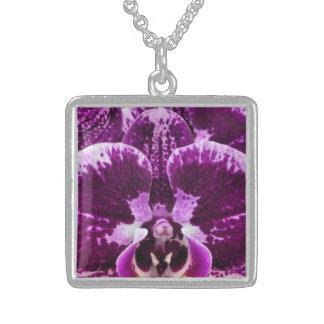Purpurfärgat Orchis Closeuphalsband Sterling Silver Halsband
