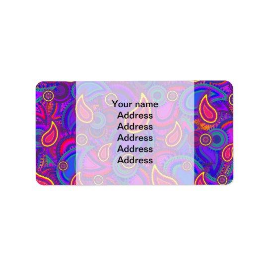 Purpurfärgat Paisley mönster Adressetikett