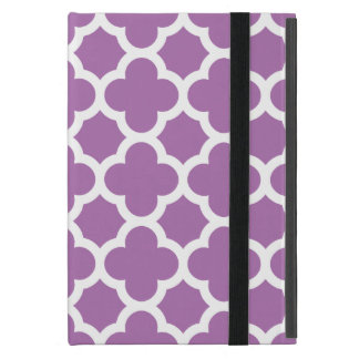 Purpurfärgat Quatrefoil spaljémönster iPad Mini Skydd