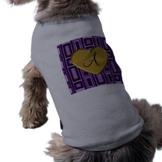 Purpurfärgat retro kvadrerar monogramen långärmad hundtöja