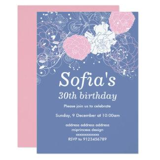 purpurfärgat rosa blom- party för 12,7 x 17,8 cm inbjudningskort