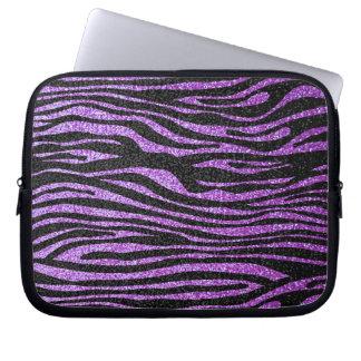 Purpurfärgat sebrarandmönster (fauxglitter som bli laptopskydd fodral