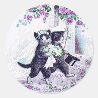 Purpurfärgat speciellt tillfälle för bröllopkatter runt klistermärke