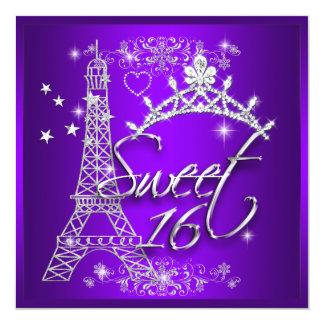 Purpurfärgat sweet sixteenEiffel för sötsak 16 Fyrkantigt 13,3 Cm Inbjudningskort