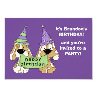 Purpurfärgat valpbarns födelsedagparty 8,9 x 12,7 cm inbjudningskort
