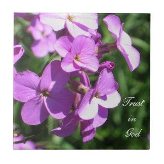 Purpurfärgat Vildblomma-Förtroende i gud Kakelplatta