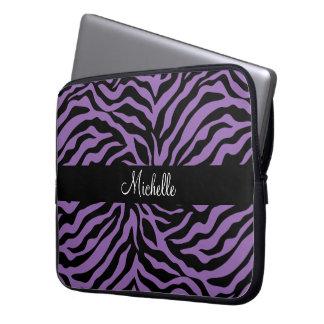 Purpurfärgat zebra rändermönster laptop datorskydd