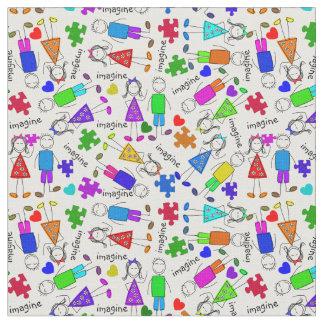 Pussel för Autismmedvetenhetungar lappar Tyg