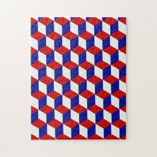 Pussel - kvarterillusion i rött, vit och blått jigsaw puzzle