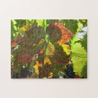 Pussel - rött druvalöv på vine