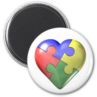 Pusselhjärta för 4 färg magnet för kylskåp