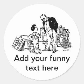 Pysen och bankiren - tillfoga din roliga text runt klistermärke