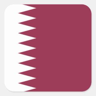Qatarisk medborgarevärldsflagga fyrkantigt klistermärke
