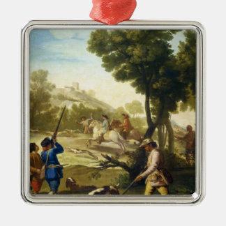 Quailna som jagar det Francisco José Goya Julgransprydnad Metall