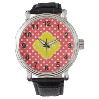 Quatrefoil 3 för vit polka dots för korall gul armbandsur