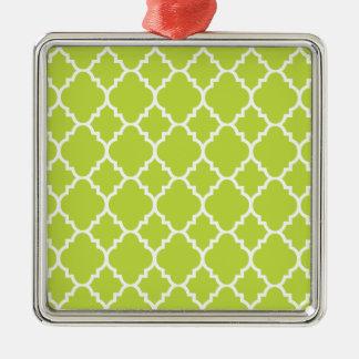 Quatrefoil för grön vit för limefrukt marockanskt silverfärgad fyrkantigt julgransprydnad