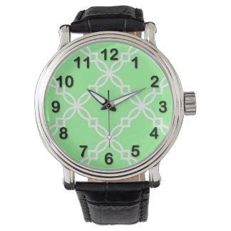 Quatrefoil för grön vit för Mint stort utsmyckat Armbandsur