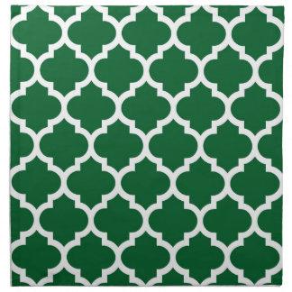 Quatrefoil för grön vit för skog marockanskt tygservett