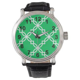 Quatrefoil för grön vit för smaragd stort armbandsur