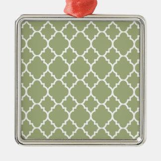 Quatrefoil för grön vit för vis man marockanskt silverfärgad fyrkantigt julgransprydnad