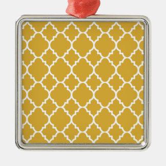 Quatrefoil för guld- vit marockanskt mönster silverfärgad fyrkantigt julgransprydnad