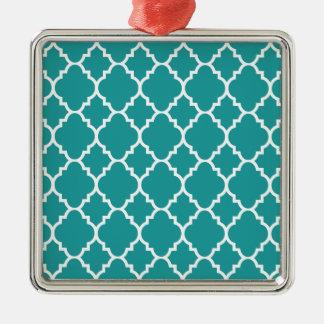 Quatrefoil för krickablåttvit marockanskt mönster silverfärgad fyrkantigt julgransprydnad