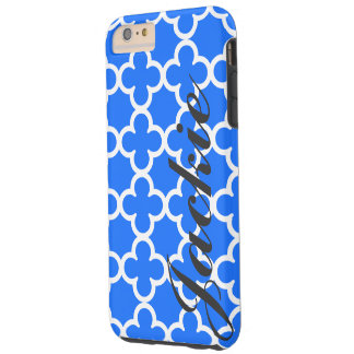 Quatrefoil för personlignamnblått mönster tough iPhone 6 plus fodral