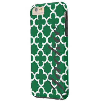 Quatrefoil för personlignamngrönt mönster tough iPhone 6 plus fodral