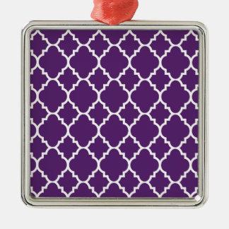 Quatrefoil för purpurfärgad vit marockanskt julgransprydnad metall