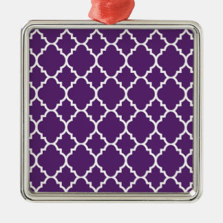 Quatrefoil för purpurfärgad vit marockanskt silverfärgad fyrkantigt julgransprydnad