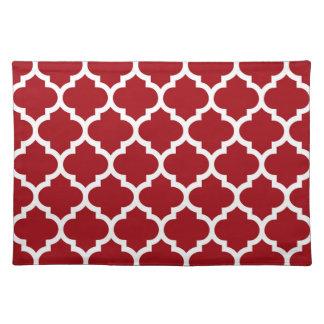 Quatrefoil för röd vit för Cranberry marockanskt Bordstablett