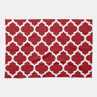 Quatrefoil för röd vit för Cranberry marockanskt Kökshandduk