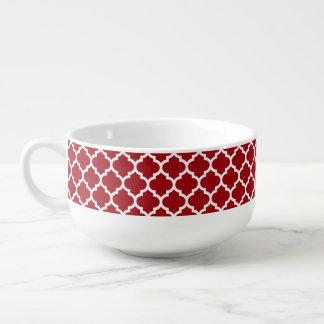 Quatrefoil för röd vit för Cranberry marockanskt Soppmugg