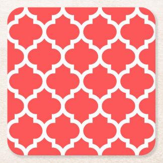 Quatrefoil för röd vit för korall marockanskt underlägg papper kvadrat