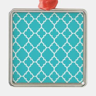 Quatrefoil för turkosAquablått marockanskt mönster Silverfärgad Fyrkantigt Julgransprydnad