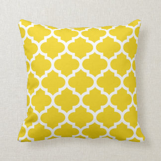Quatrefoil kudder - citronen - det gula mönster prydnadskudde
