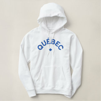 Québec Hoodie - blåttKanada lönnlöv Broderad Luvtröja