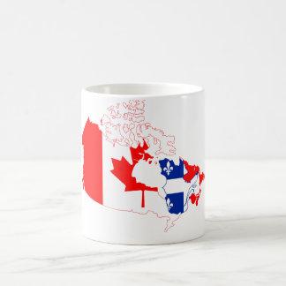 Quebec i den Kanada flagga, karta Kaffemugg