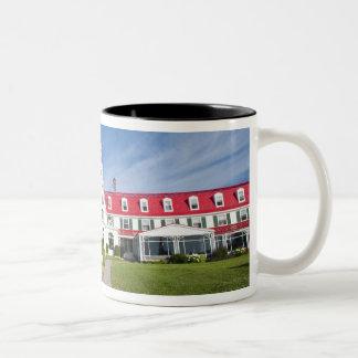 Quebec Kanada. Historiskt hotell Tadoussac, Två-Tonad Mugg