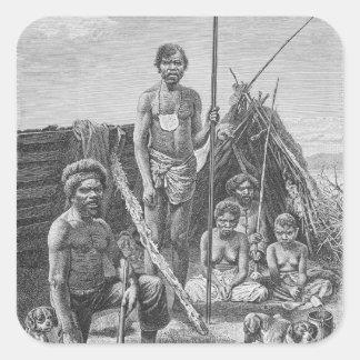Queensland aborigines som inristas från en fyrkantigt klistermärke