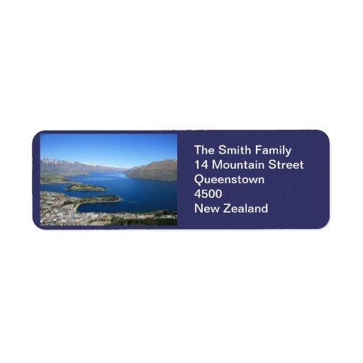 Queenstown NZ, anpassadeadressetikett Returadress Etikett