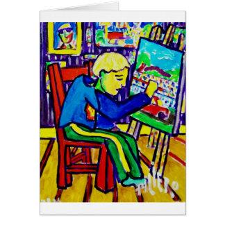 Quentin målning vid Piliero Hälsningskort