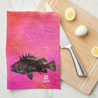 Quillback Rockfish på laxen/rosor - kökshandduk
