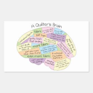 Quilters hjärna rektangulärt klistermärke