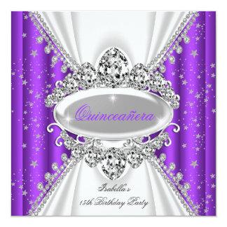 Quinceanera 15th födelsedagPrincess Lila Tiara Fyrkantigt 13,3 Cm Inbjudningskort
