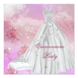 Quinceanera 15th Tiara för 15 födelsedagsfest Fyrkantigt 13,3 Cm Inbjudningskort