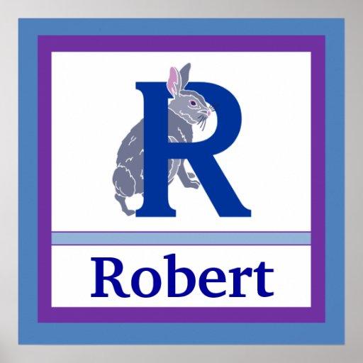 R är för för väggkonst för kanin och för pojke kän affischer